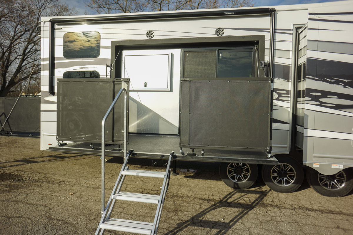 luxury toy hauler 5th wheel side patio