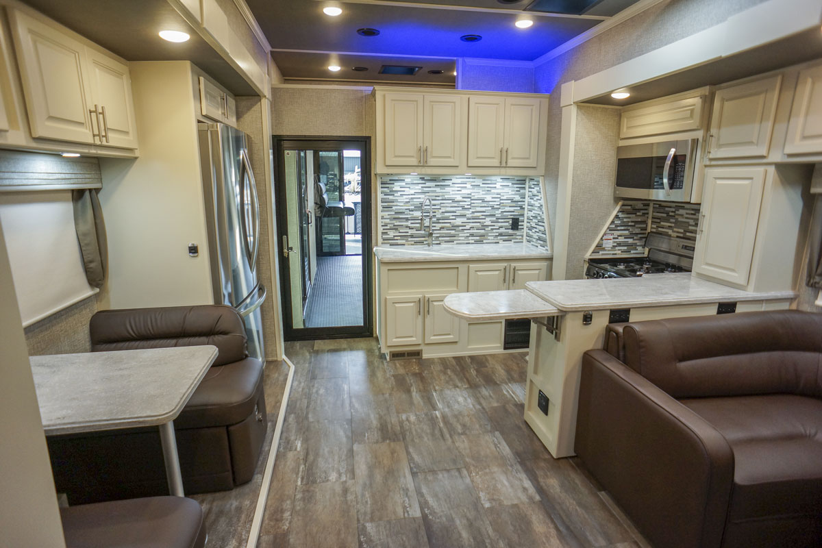 luxury toy hauler 5th wheel living room