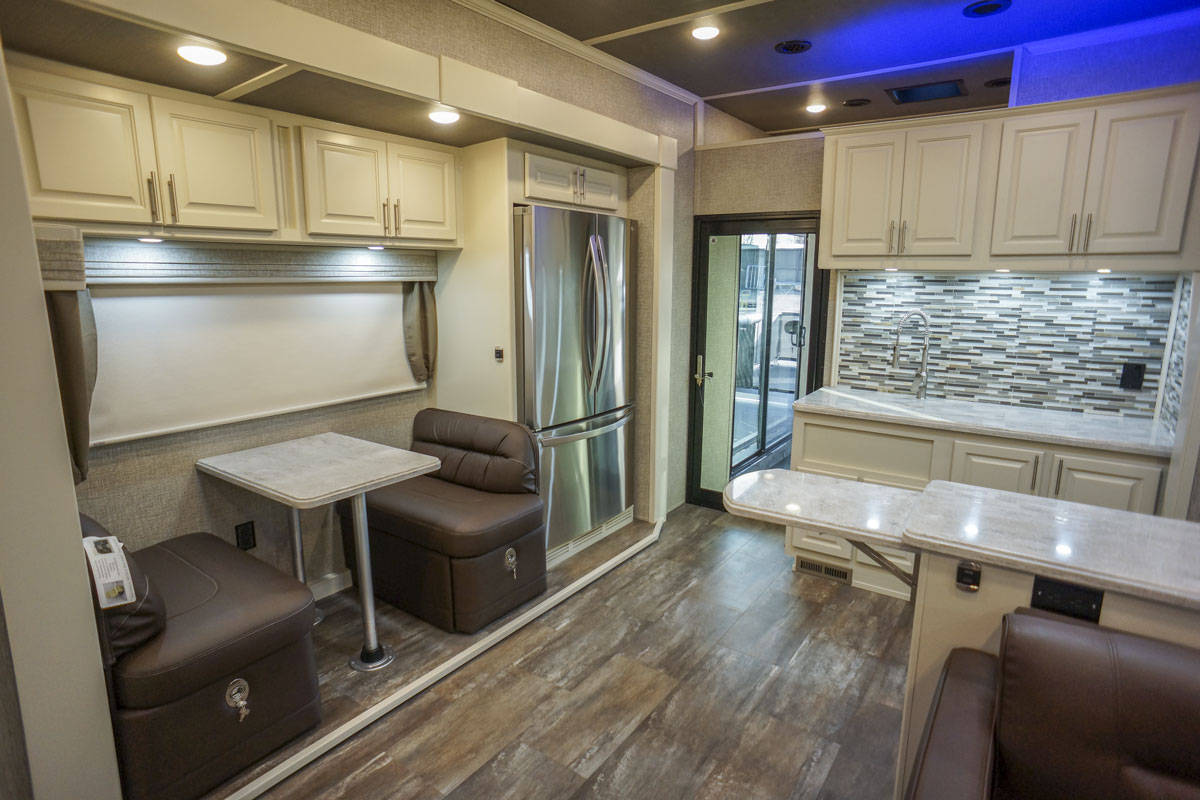 luxury toy hauler 5th wheel dinette