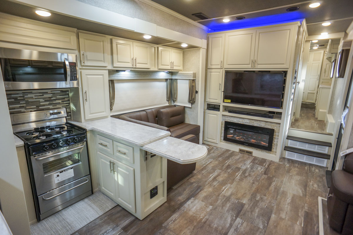 luxury toy hauler 5th wheel kitchen