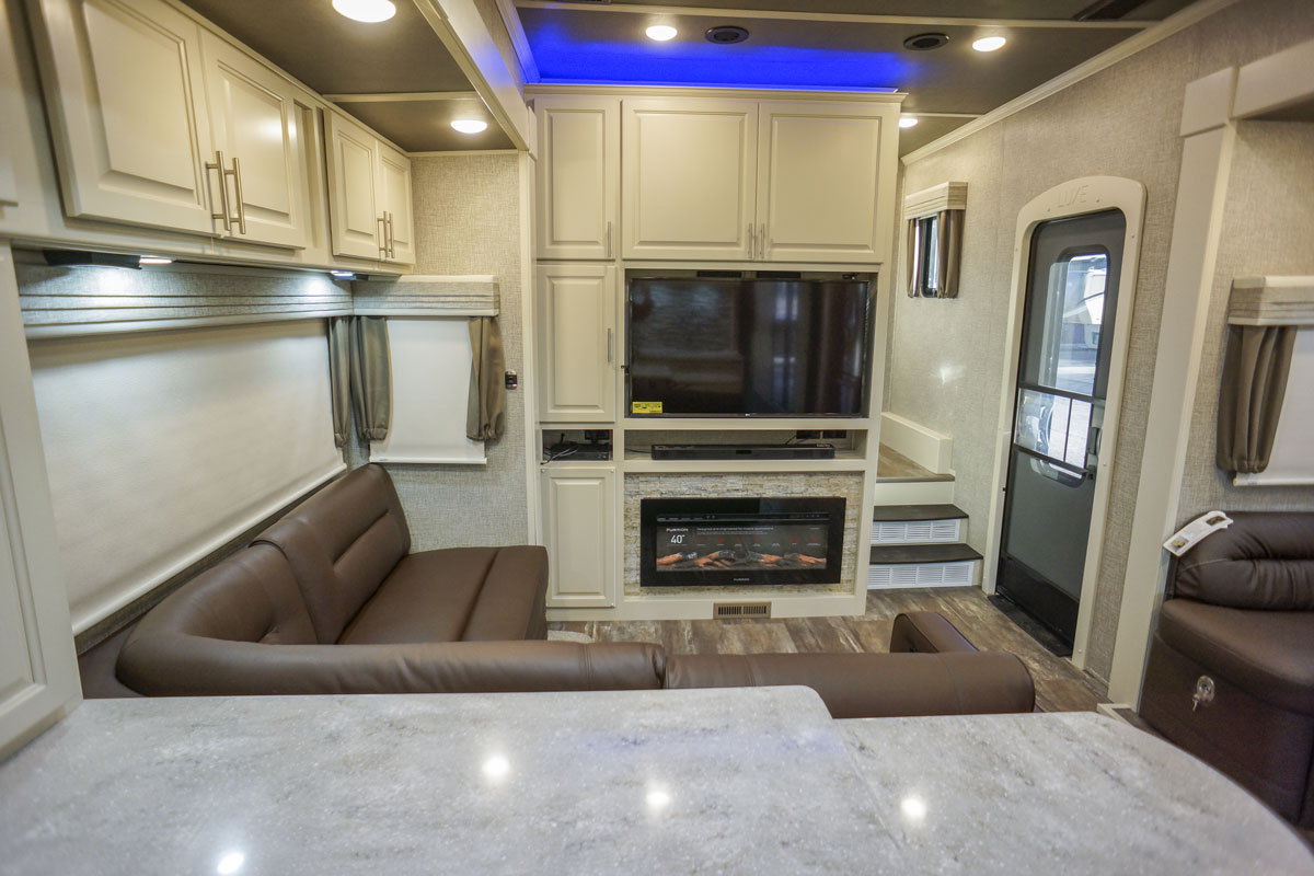 luxury toy hauler 5th wheel sofa