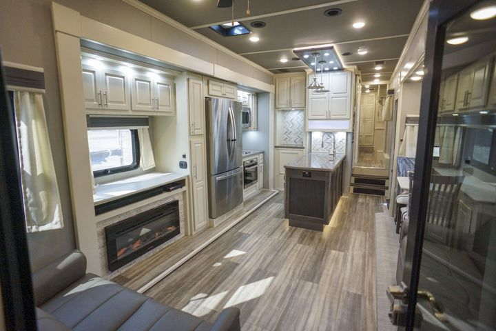 toy hauler fifth wheel living room 45FB